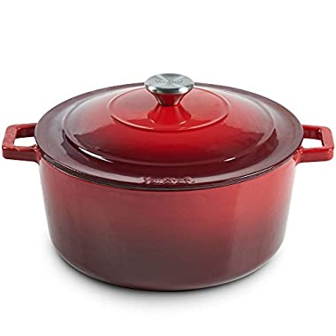 VonShef Cast Iron Round Dutch Oven Pot Casserole Dish, Naturally Non Stick Stain and Odor Resistant, Enamel Coated Graduated Red, 11 Inches, 6 Quarts