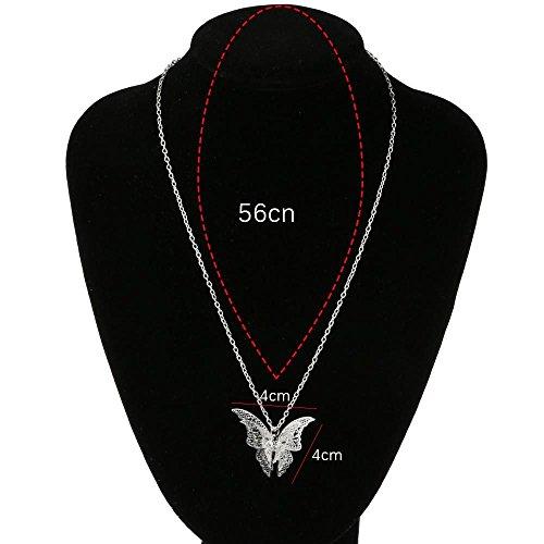 VANKER Femmes Charme Creux Pendentif Papillon Collier Argent Bijoux Élégant