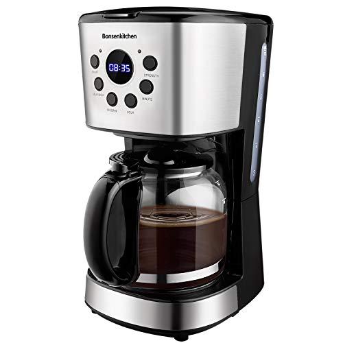 Macchina Caffe, Bonsenkitchen Macchina Caffe Americano, Programmabile Caffettiera con Timer, 1.5 L, Filtro Permanente per Tè e Caffe, Acciaio Inox, Funzione Antigoccia, Spegnimento Automatico