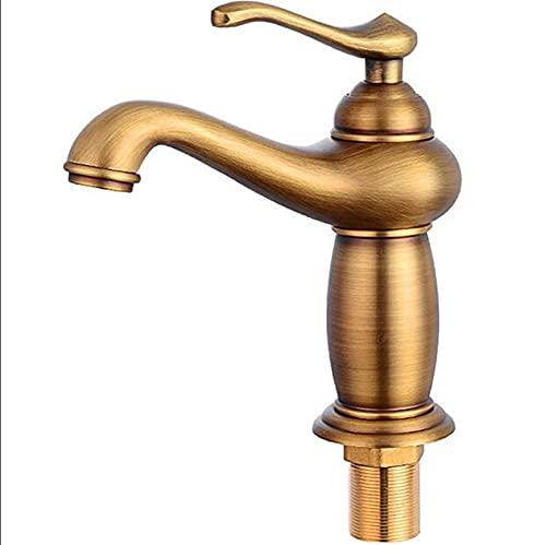 MCYAW Faucet de baño Acabado de Bronce Antiguo Lábulo de latón Fregadero de latón Macizo Grifos de un Solo Mango Mezclador de Agua Grifer grúa de baño (Color : A Antique Bronze)