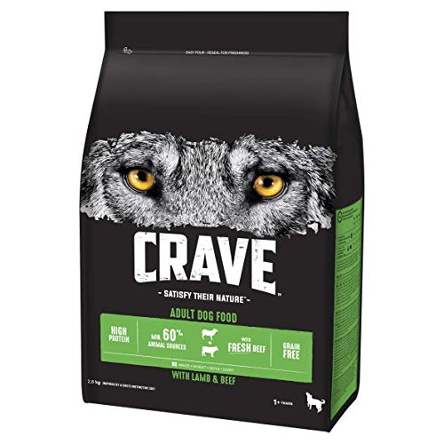 Crave Dry Dog Food - High Protein & Grain-Free Dog Food with Lamb & Beef, 2.8 kg (Pack of 3)