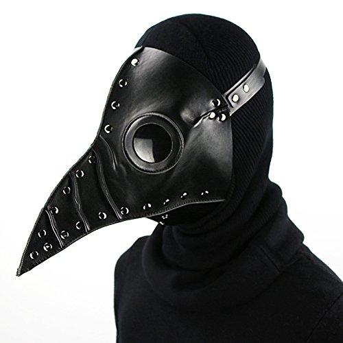 Zishine Plague Doctor Mask Halloween Props Costume Steampunk Gothic Cosplay Maschera retrò Materiale in Pelle,Nero