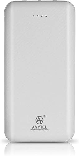 AMYTEL 20000 Mah Li Polymer Plastic Design Power Bank 2 1A Dual Inputs Type C Micro USB And 2 1A Dual Outputs USB Type C For All Android And Ios T 73 White