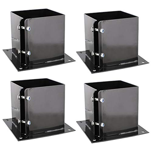 BISupply No Dig 6x6 Post Anchor Square Bracket 4pk - Bolt Down Post Base Wood Post Ground Anchor Fence, Mailbox, Deck