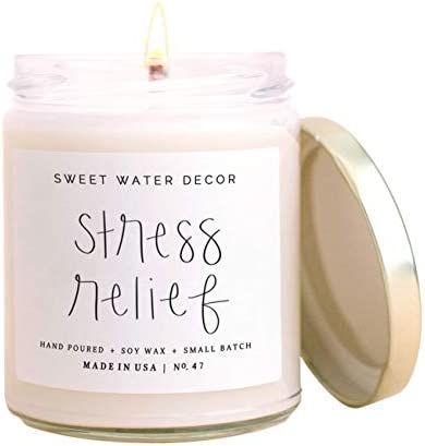 Sweet Water Decor Stress Relief Candle Eucalyptus Spearmint Citrus Sage Relaxing Scented Soy product image