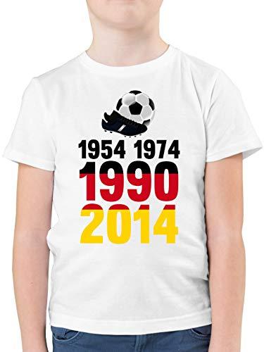 Fußball-Europameisterschaft 2021 Kinder - 1954, 1974, 1990, 2014 - WM 2018 Weltmeister Deutschland - 164 (14/15 Jahre) - Weiß - wm Trikot 1974 Deutschland - F130K - Kinder Tshirts und T-Shirt für