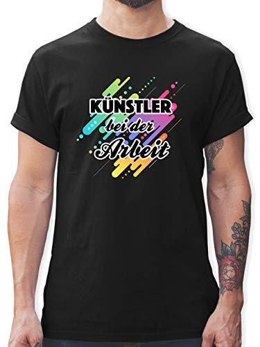 Hobby - Künstler bei der Arbeit bunt - XXL - Schwarz - buntes Herren t Shirt 3XL - L190 - Tshirt Herren und Männer T-Shirts