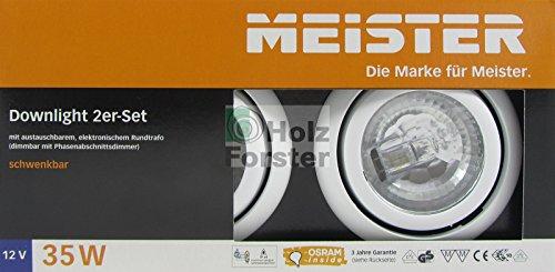 MEISTER Downlight Rund 12Volt 35Watt, Weiß, 2er Set