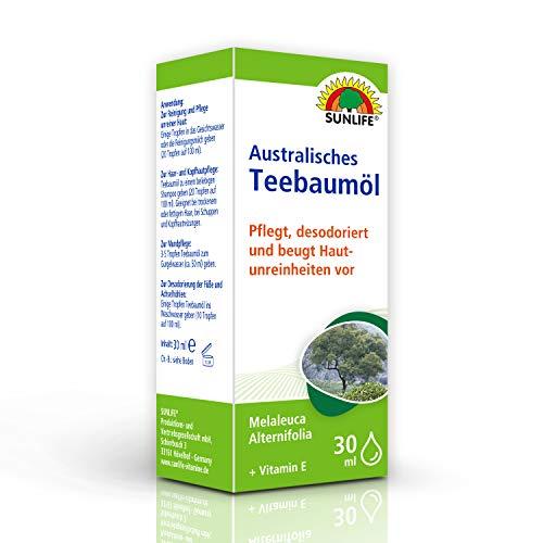 SUNLIFE Australisches Teebaumöl: Haar- und Hautpflege, mit Vitamin E, pflegt, reinigt und desodoriert, 30ml