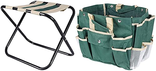 Taburete de jardín, banco para rodillas, 2 en 1, plegable, con bolsa de herramientas, espuma EVA, para exteriores, palanca de rodillas, 23,5 x 10,9 x 19,3 pulgadas