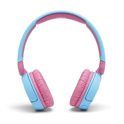 JBL JR 310 Auriculares inalámbricos para niños, con Bluetooth y volumen reducido, auriculares supraaurales cómodos y ligeros, con micrófono, hasta 30 horas de reproducción, azul