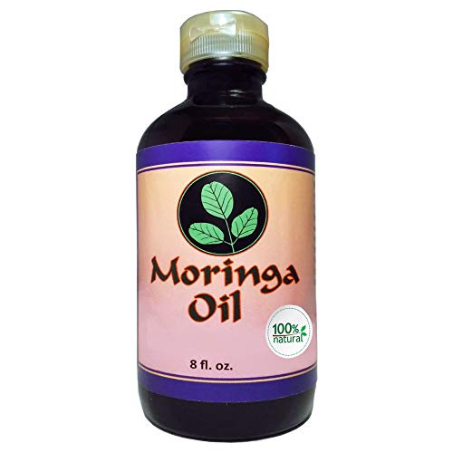 Moringa Oil Natural 8 oz 100% Pure, Cold Pressed, Food Grade Edible, Amber Glass Bottle & Pop top. Use to Rejuvenate, Moisturize & Heal Face, Body, Skin and Hair.