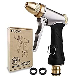 ESOW Pistolet d'arrosage en 100% métal lourd pour le jardin et le lavage de voitures, Structure 100% métallique composée…