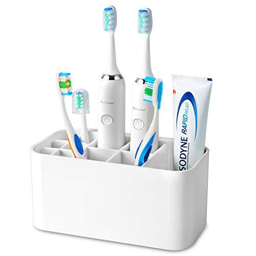Colist Porta spazzolino elettrico multifunzione ,Portaspazzolino a muro per bagno ,4 fessure per spazzolino da denti + 6 fessure per testine di spazzolino da denti elettriche(bianche)