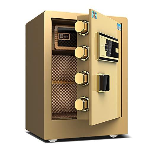 Cassaforte YXX Cassetta di Sicurezza 45 Cm di Altezza Sicurezza con 4 Bulloni di Bloccaggio in Acciaio, Oro Casseforti per Armadietti per Denaro, Contanti, Documenti (Formato Carta A4)