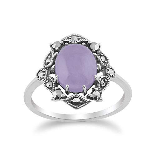 Gemondo 925 Sterlingsilber Jugendstil Vintage Inspiriert Lavendel Jade & Markasit Ring