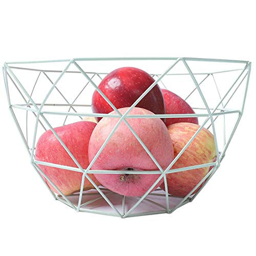Pimuza Fruit Stand Vegetables Serving Bowl Basket Holder for Kitchen Counter,Table Centerpiece,Fiesta,Metal Iron Wire,Wedding,Living Room,Large Round Modern Stylish Tray Storage for Banana,Bread,White