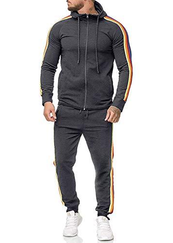Conjunto de chándal ajustado con capucha para hombre, de manga larga, con cierre completo, sudadera con capucha y pantalón largo Gris gris oscuro L