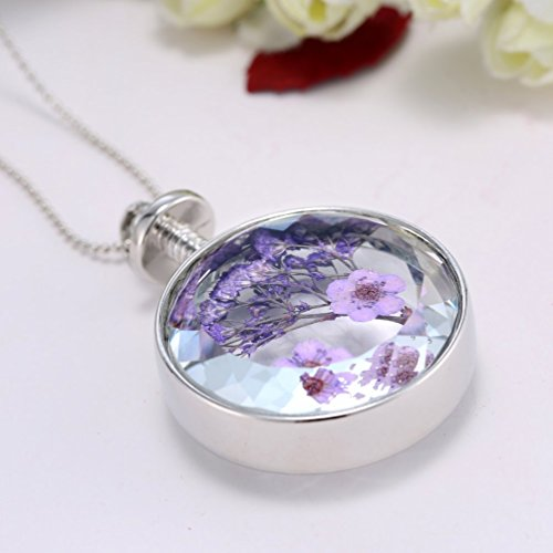 Dried Pressed Purple Flower Necklace Heart Round Shape Glass Pendant Necklace for Women Girl (Round)