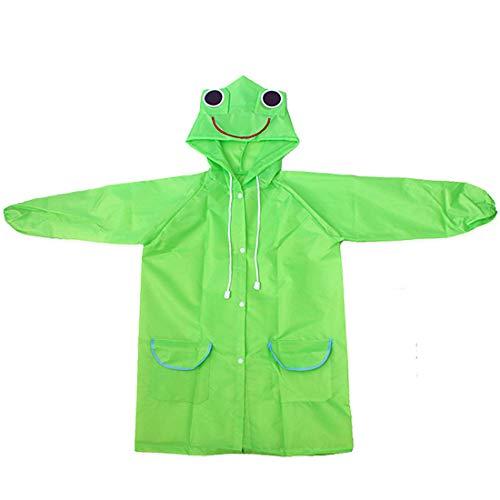 heavKin-clothes 2-8Y Child Kids Rain Jacket Coat Girls Boys Cartoon Raincoat Waterproof Hooded Long Rainwear Lightweight Poncho (Green, Age:2Years-8Years)