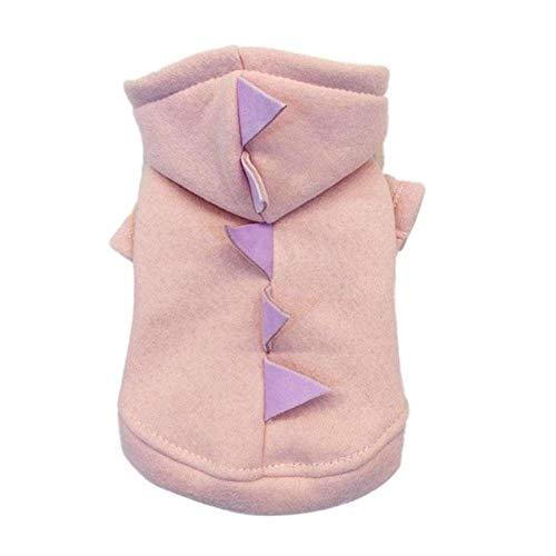 Xinger hond dinosaurus kleding kerst jas Winter katoen zachte warme schattige kleding prinses Sweatshirt voor kleine huisdier outfit, roze, XS
