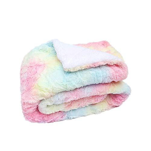 Ousyaah Manta de Vellón Sherpa 152x127cm Reversible Manta de Cama de Piel Sintética Manta Tie-dyed PV Fleece de Iridiscente Manta Ultra Suave y Cálido Sofá - Iridiscente