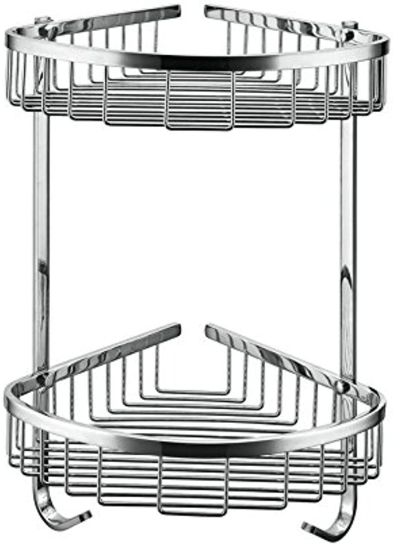 XAH@ 304 stainless steel mesh double opening wall hanging corner shelf with hooks bathroom Shelf corner rack 230 , bright chrome