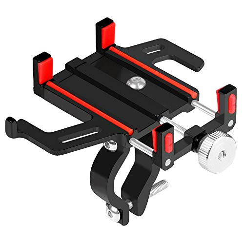 ROSEBEAR Aluminium Alloy Bike Mobile Phone Bracket, Handlebar Phone Stand for Bicycle Cycling.(Red)