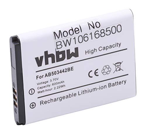 vhbw Akku passend für Samsung SGH-E488, SGH-E570, SGH-E690, SGH-J578, SGH-J700 Handy, Handy ersetzt AB503442BE, AB503442BUCSTD (600mAh, 3.7V,Li-Ion)