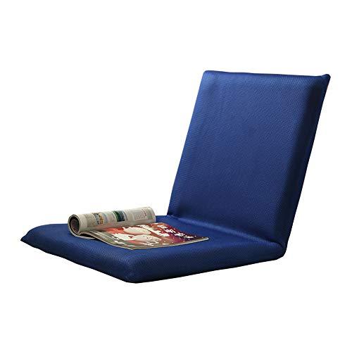 LJFYXZ Chaise de Sol Seul Petit canapé Réglage à 5 Vitesses Loisir Pliable Chaise d'ordinateur Salon Chambre Coussin (Couleur : Bleu)