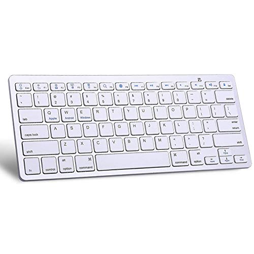 XHEU Wireless Bluetooth Keyboard, Ultra-Thin Bluetooth Keyboard Compatible with iPad Air/iPad 9.7 inches/iPad Mini, iPhone and Other Bluetooth-Enabled Devices Including IOS, Android, Windows, white