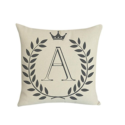 Kissenbezug 45 x 45 cm Brief A-Z Drucken Dekokissen Fall Sofa Home Decor Pillow Cover LuckyGirls (A)