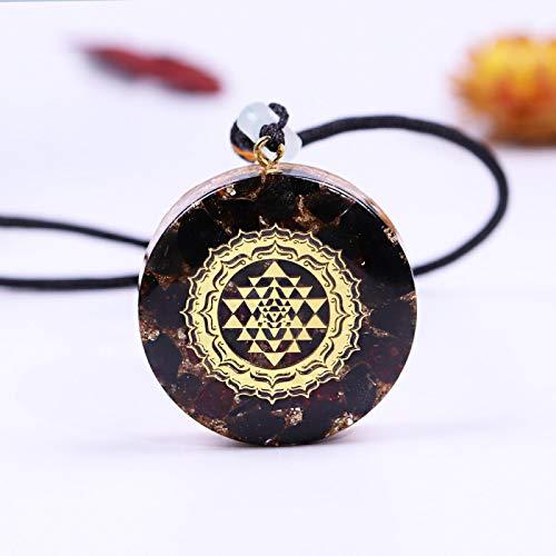 Ucjhxfr Collar con cristales curativos, geometría sagrada, protección de la fuerza eléctrica, colgante Ucjhxfr con hoja de obsidiana negra