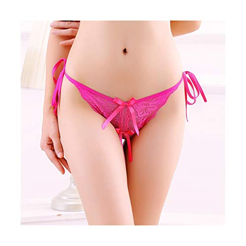 LIBILAA Sexy Underwear Ladies Open File Lace Thong Transparent Tie Pan