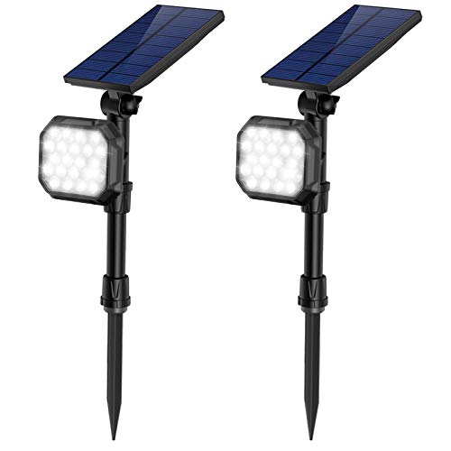 JSOT Solar Spotlights Outdoor 22 LED Waterproof Landscape Spot Light Auto On/Off Flood Lamp for Garden Yard Patio Lawn Garage Driveway