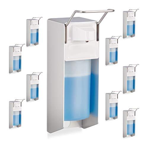 Relaxdays 10 x Eurospender 500 ml, intelligente Handhygiene, Seifenspender, Desinfektionsmittelspender, Bügel-Mechanik, weiß