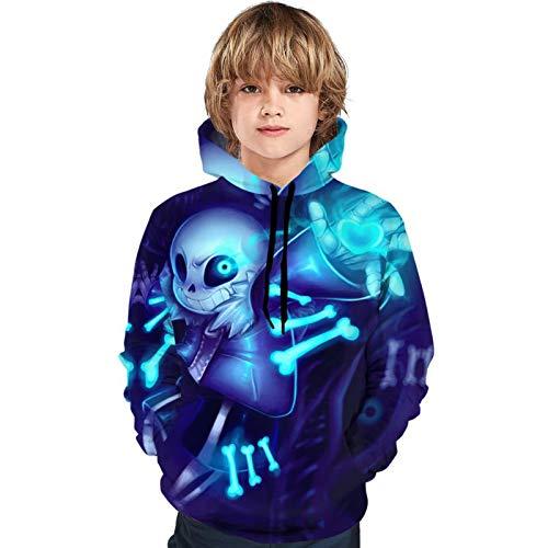 Unisex Sans Hoodie Kids Pullover Hoodie 3D Print Sweatshirt for Boys Girls Black