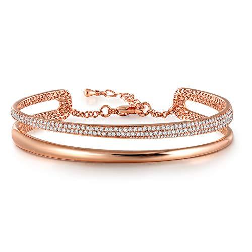 Angelady Damen armbänder in Rose Gold and Silber mit AAA+ Kubikzircon, Verstellbar Rosegold Charm Armreif Armkette Armband Fraue with Geschenkbox(Timeline Love)