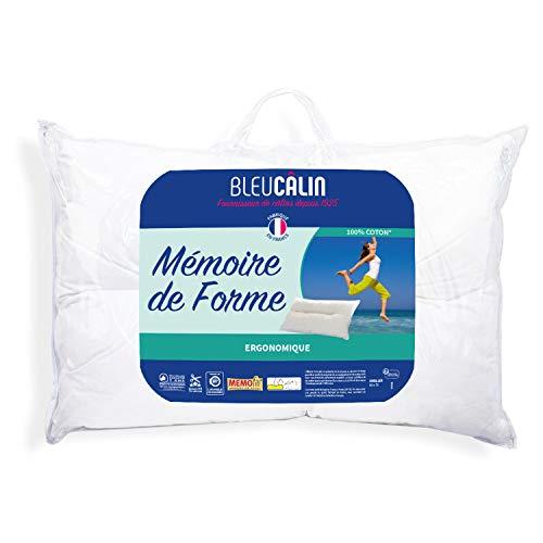 Bleu Câlin Oreiller Rectangulaire Ergonomique Mémoire de Forme, Blanc, 50x70 cm, OMFWERGO