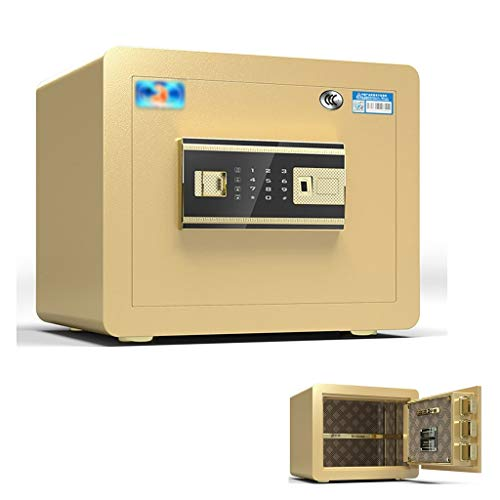 Tresore Smart-Fingerabdruck-Safe All Steel Mini Safe 30CM Sicherheit Nachttisch Feuerbeständige und einbruchsicherer, automatischer Alarm Möbeltresore (Color : Gold, Size : 30 * 30 * 38cm)