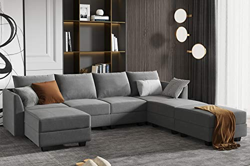 HONBAY Modular Sectional Sofa U Shaped Couch Reversible Sofa Couch with Storage Seat, Grey