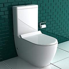Stand-douche toilet + spoelbox + GEBERIT spoelgaren + afneembare wc-bril met automatische verlaging | Complete set | Geïntegreerde Taharet Bidet- functie | Procedure Horizontaal en verticaal*