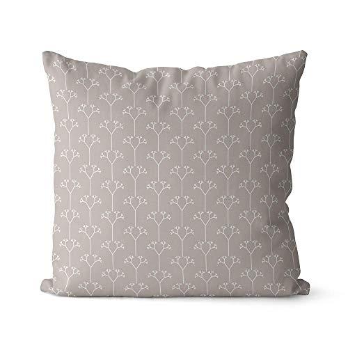 Modernes Kissen 50x50 cm aus Biobaumwolle grau, weiß
