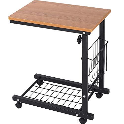 Mesa de cama con ruedas, escritorio portátil portátil y resistente de altura ajustable, mesa de centro con mesita auxiliar Mesa de centro con sofá, mesa de sofá con cama ajustable en altura con ruedas