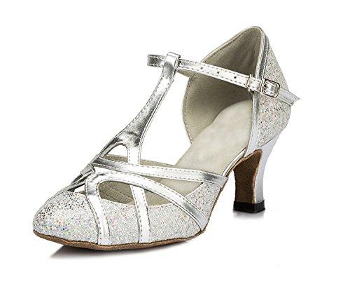 Minitoo qj6133Damen Geschlossen Zehen High Heel PU Leder Glitzer Salsa Tango Ballsaal Latin t-strap Dance Schuhe, Silber Silver-6cm Heel ,40 EU/7 UK