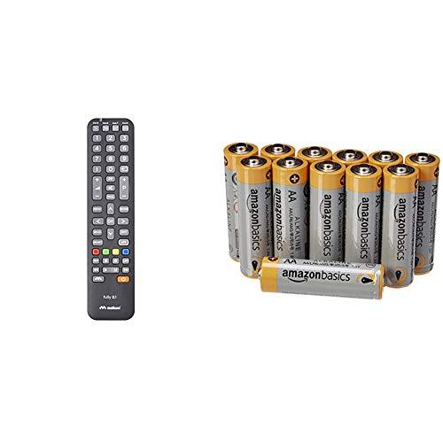 Meliconi Fully 8.1 Telecomando Universale 8 In 1 Per Tv, Decoder, SKY, Dvd Blu Ray, Box Multimediali + Iptv e altro ancora & Amazon Basics Pile Stilo Alcaline AA Performance, confezione da 12