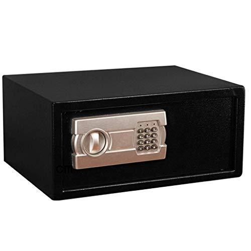 LHSUNTA Caja fuerte de seguridad para el hogar y la oficina con cerradura de llave, estructura de acero segura digital, 40 x 30 x 19 cm, cinturón antirrobo, 2 llaves de emergencia, color negro