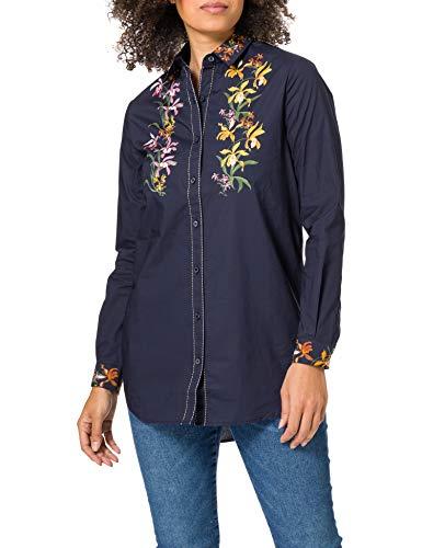 Desigual CAM_VAILINA Camiseta, Azul, XL para Mujer