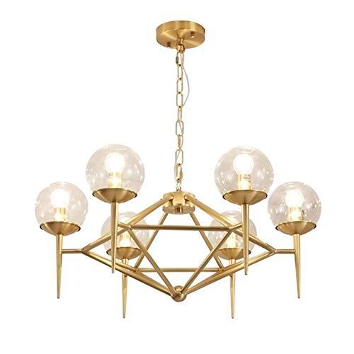 ZAKRLYB Nordic Modern Derred Gold Droplight Claro Araña de cristal Metal E26 Luz de techo Dormitorio en la cocina Accesorio for colgar Restaurante grande Lámpara colgante 27.5'Diámetro 6-Luces Ilumin