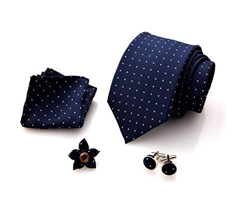First Impact Herren Krawatte + Manschettenknöpfe Hemd + Taschentuch + Brosche Jacke Herren (Set Herren Krawatte 4 Stück) Geschenkbox Herren Geschenkidee, Blau mit Tupfen